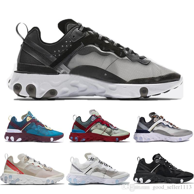 92aaa2c7d Hot UNDERCOVER X Upcoming React Element 87 Black Grey White Red Blue Beige  Running Shoes Women Men Trainer Designer Sports Shoes Size 36-45 Epic React  ...