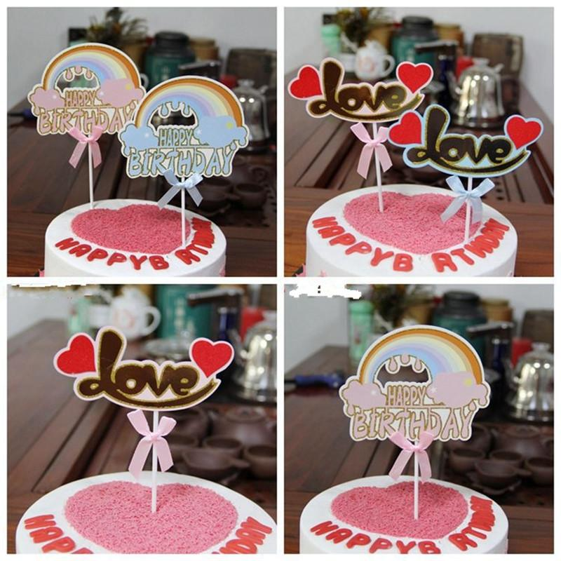 2019 Rainbow LOVE Cupcake Cake Topper Happy Birthday Flags For Family Party Baking Decoration Supplies From Haoxingarden 2049