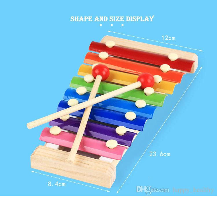 wood hand knocks the 8-Note xylophone serinette Eight piano digital alphabet blocks kids baby Musical toy piano Instrument gift DHL