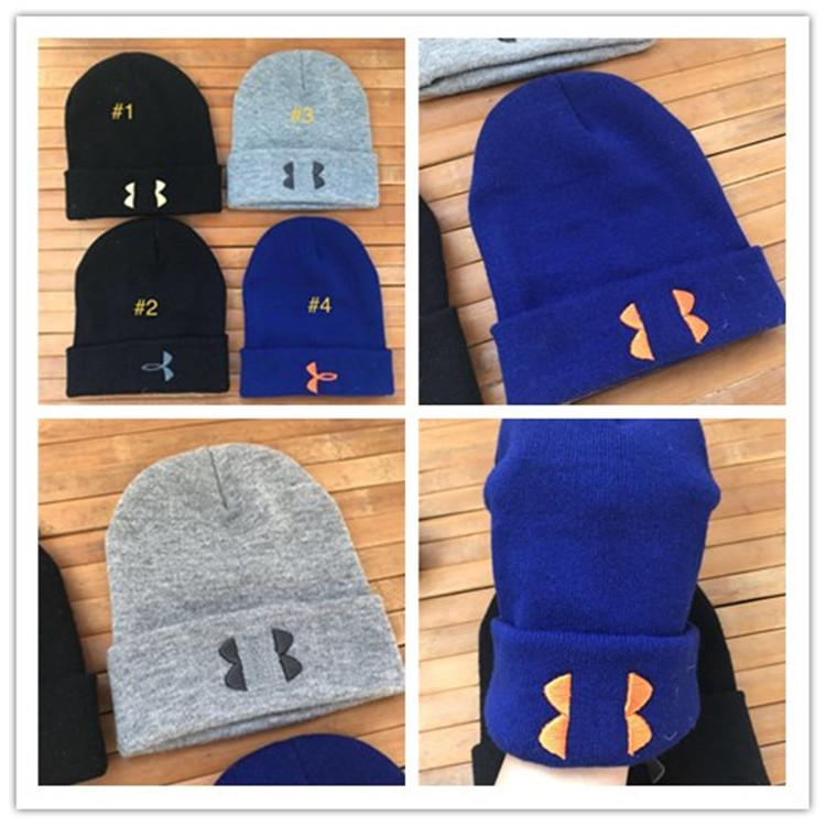 19226a64281b0b Brand U&A Knitted Hats Men Women Under Beanie Embroidered Skull Caps ...