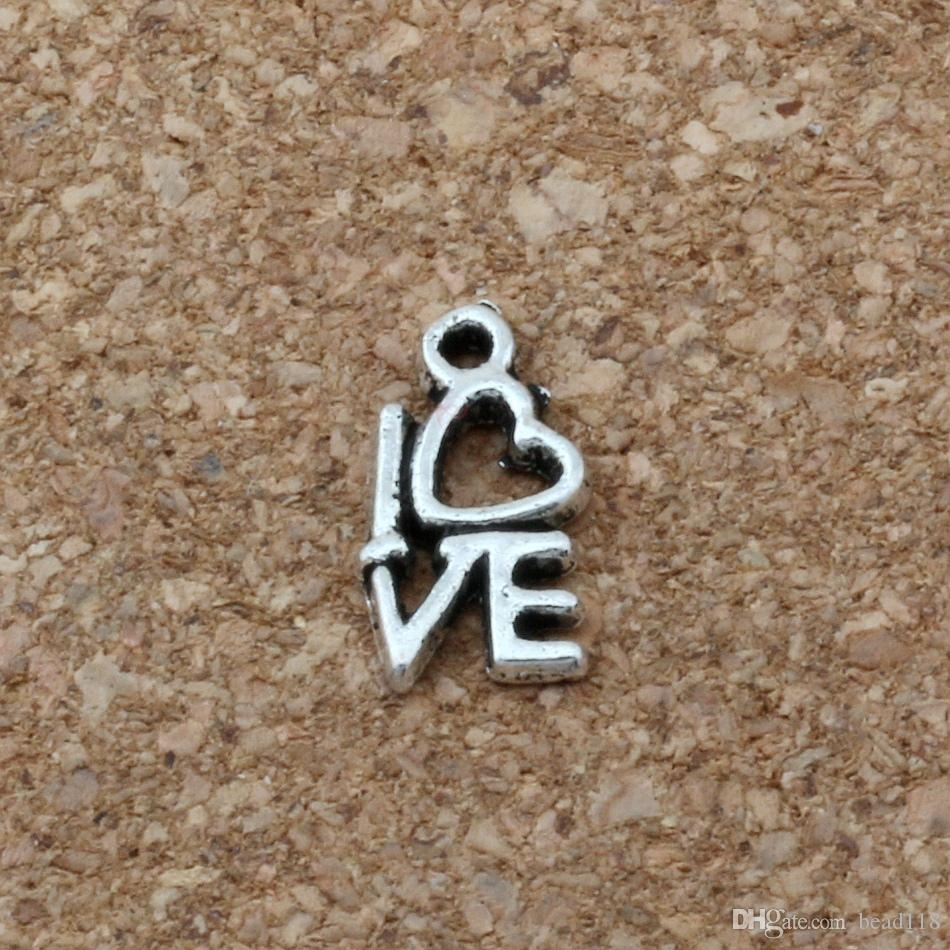love Charms Pendants 500Pcs/lot Hot sell Antique Silver Jewelry DIY 8 x14mm A-170
