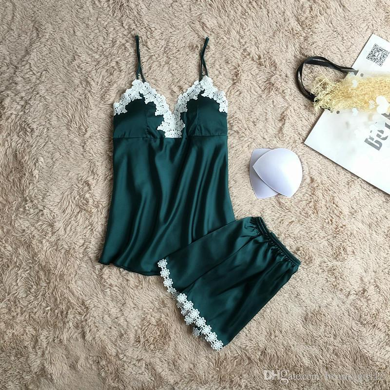 Brand pajamas sets for women fashion lace satin pijama summer nightwear sexy lingerie pajamas pyjamas women homewear NEW