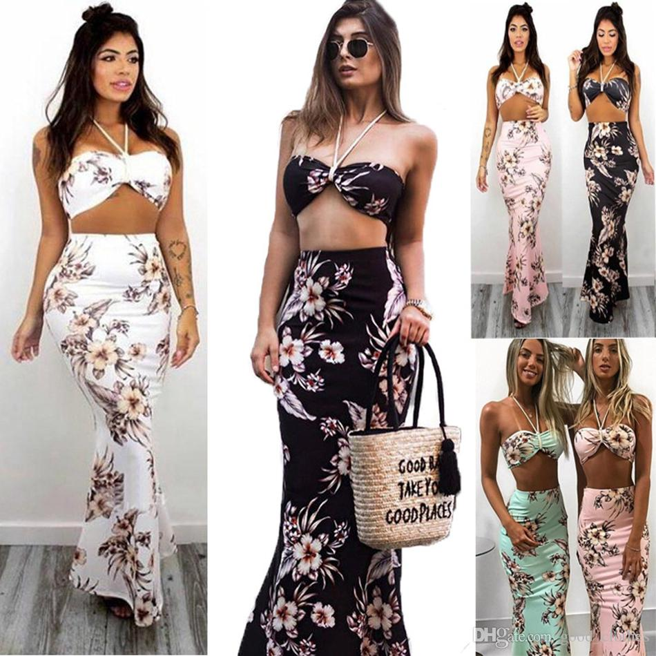 04eb7cca37 Sleeveless Halter Bra Print Party Dress Maxi Dress Floral Print Long Dress  Beach Summer Dresses LJJO4240 Dress For Ladies Dress Usa From Good_clothes,  ...