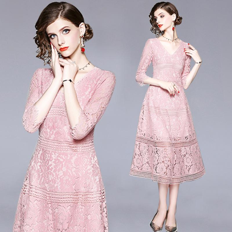 Women's Clothing Suits Sexy Women Summe Fall Flora Printing Three Quarter Sleeve Evening Party Prom Swing Dress Girl Tops Dress Female Vestido Available In Various Designs And Specifications For Your Selection