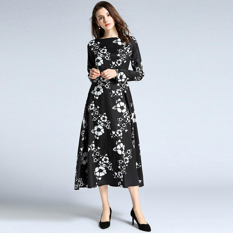 Maxi Dresses Women Casual Holiday Daily Dress Autumn Long Sleeve High Waist  Vintage Print Floral Dress Shop Cocktail Dress Cocktail Night Dresses From  ... cc6ca17262f0