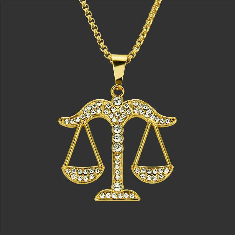 2018 Gold Libra Necklaces For Men Woman Boy Girl Chain Pendants For Men s  Zircon Hip Hop Men Jewelry