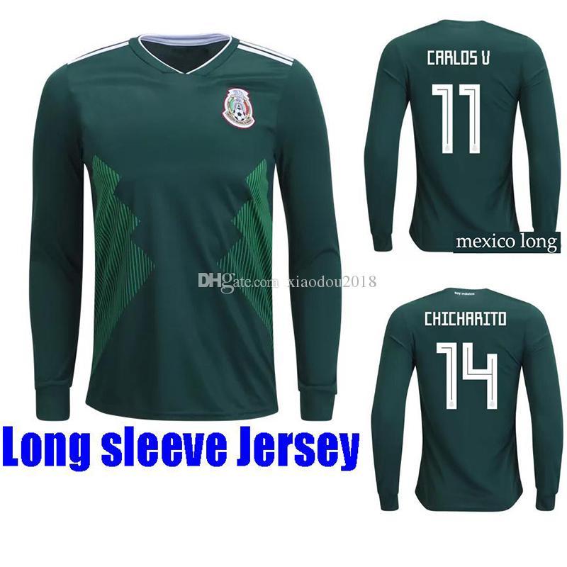 2018 World Cup Mexico Camisetas De Fútbol De Manga Larga HIRVING LOZAN  CHICHARITO Camiseta De Fútbol G DOS SANTOS 18 19 Camisetas Hernandez  Maillot Por ... 45e61621aa717