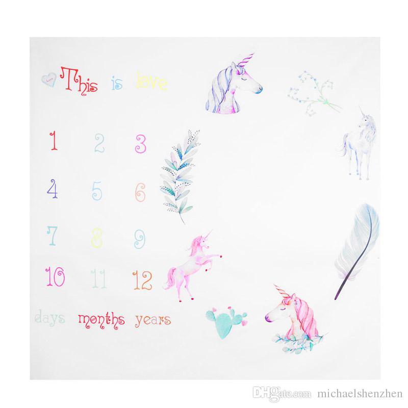 13 Estilo Recém-nascido do bebê INS Unicorn fox fotografia fundo adereços foto tecido backdrops infantis cobertores envoltório números de letra imprimir coágulo B01