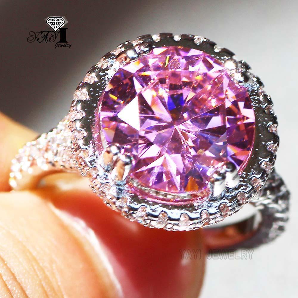 2018 Yayi Jewelry Fashion Princess Cut 6.3 Ct Pink Zircon Silver ...