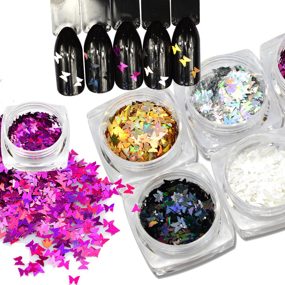 New Nails Glitters Butterfly Shape Mix Colors Beauty Gel Nail Art ...