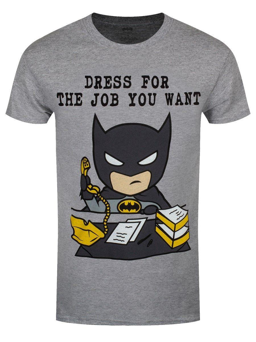 big sale a0f41 626b9 Batman Herren T-Shirt Dress For The Job You Want grau