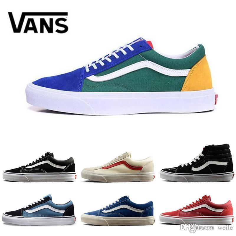 cfefd2b653 2019 2018 Old Skool White Black Red Blue Classic Zapatillas De Deporte  Sneakers Women Mens Canvas Casual Fashion Sport Designer Shoes From Weile