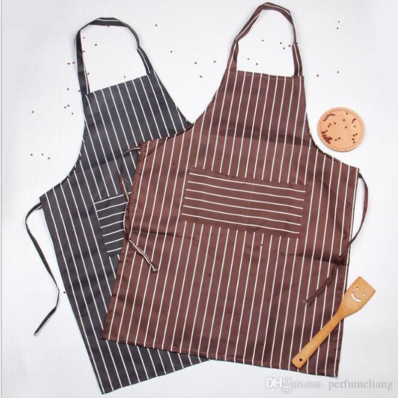 Mode Leinwand Streifen Schürze mit Taschen Cafe Kellner Küche Koch Haushalt Für Reinigungswerkzeuge Küche Schürzen ZA6485