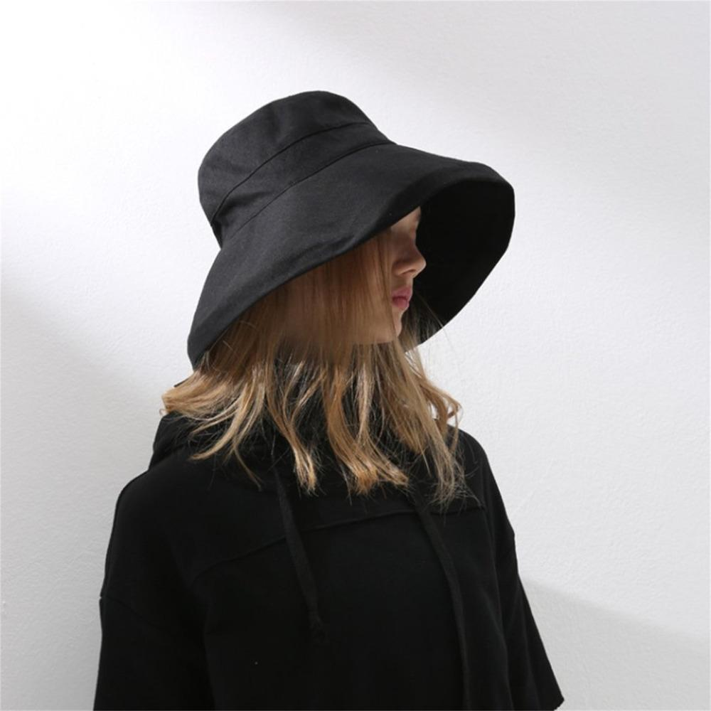 5c117f26e0a Plain Deep Bucket Hat Women For Fishing Beach Cotton Summer Sun Hats For  Women Fashion Design Foldable Brimmed Big Bowknot Caps Hat World Ladies Hats  From ...