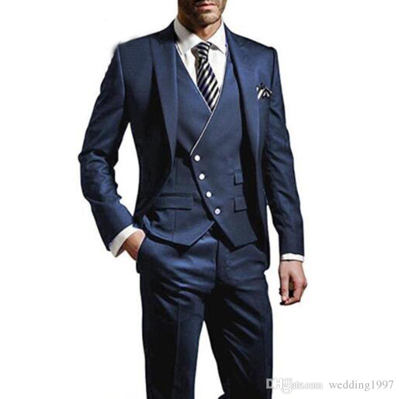Navy Wedding Men Suits for Groom Tuxedos 2018 Three Piece Jacket Pants Vest Latest Design Peaked Lapel Tailor Made Blazer