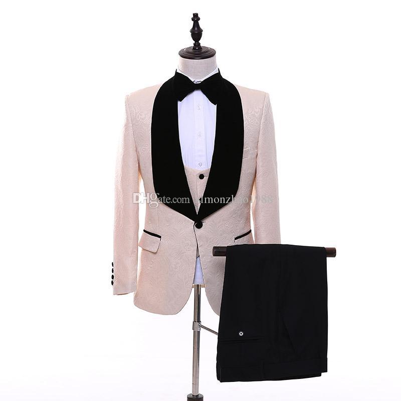 Haute Qualité 3 Pièces Hommes Costumes Rose 2018 Tailored Pattern Garçons D'honneur De Mariage Smokings Formelle Dîner Costumes Blazer Avec Pantalon