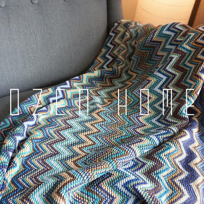 Plaid Bedspreads Indian Knitting Blanket Decoration Carpet Weighted