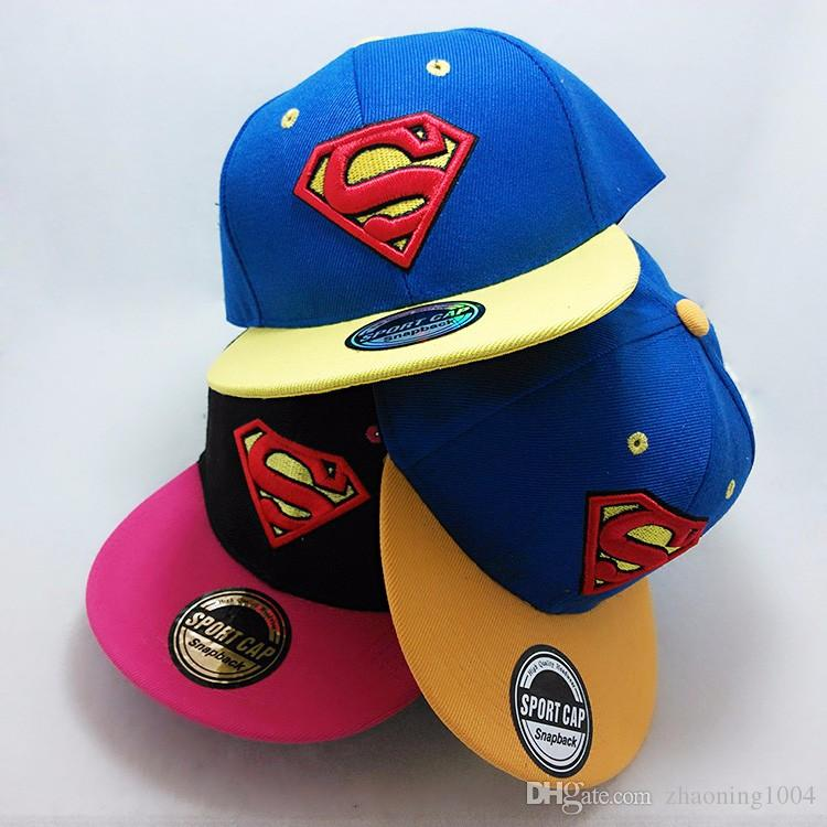 a384cb55c11 Designer Superman Embroidery Kid Hats Adjustable Snapback For ...