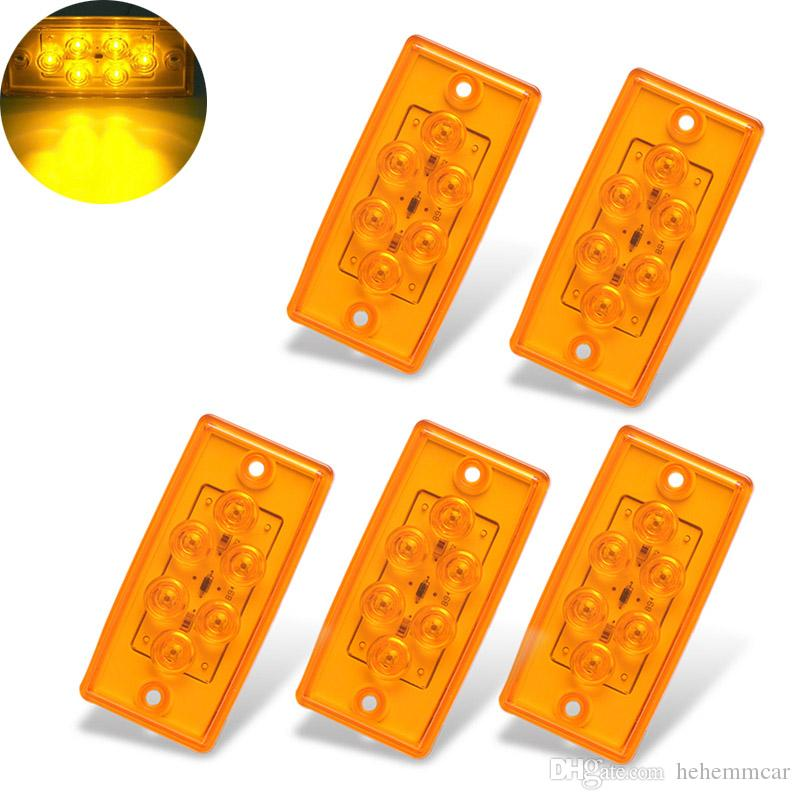 Rectangle 6LED Cab Roof Top Clearance Lamps Side Marker Lights for 12V  Freightliner Truck Trailer RV (5Pcs)