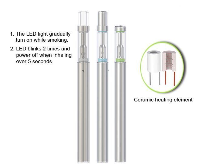 Custom logo Ceramic disposable vape vaporizer pen BUD-D1 with 0.3ml or 0.5ml glass cartridge 330mah battery support 150puffs 250puffs