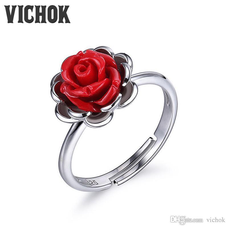 2019 925 Sterling Silver Ring Red Rose Vintage Ring