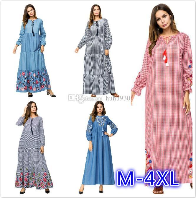 Women Islamic Clothing Modest Wear Abaya Dress Jillbab Kebaya Muslim Ladies Long Sleeve Maxi Dress Large Size Dress M 4xl