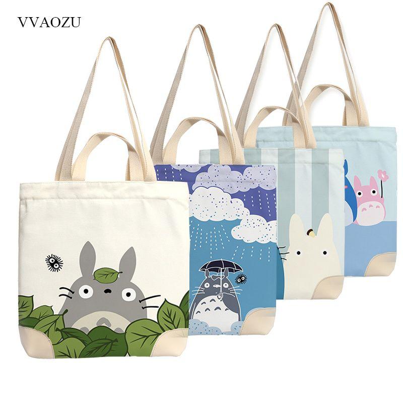 d952b6bed301 Anime Totoro Canvas Tote Bag Shopping School Books Bag Women Shoulder Bags  Travel Handbag for Boys Girls