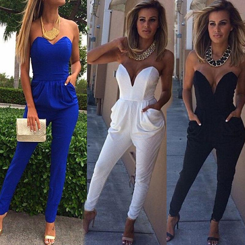 2019 New Sexy Female Summer Jumpsuit Deep V Neck Hot Strapless Off Shoulder  Sexy Playsuit Womens Summer Club Wear Jumpsuit From Berniceone ffe2d767b