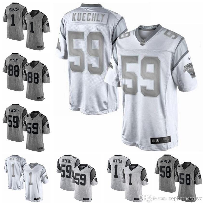 3a55a48d5 2018 Carolina Limited Football Jersey Panthers Gray Gridiron II White  Platinum 22 Christian McCaffrey 1 Cam Newton 59 Luke Kuechly From  Tophotneweight