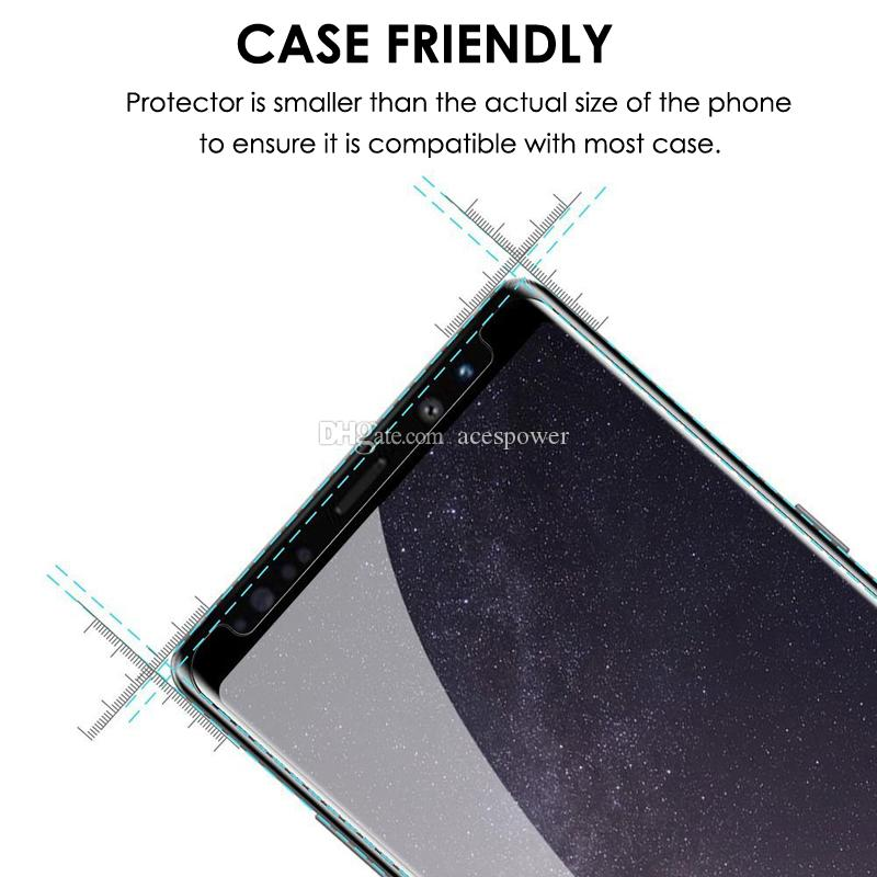 Full Glue Case Friendly Tempered Glass Screen Protector For Samsung Galaxy S10 S9 S8 Note 9 10 Plus With Retail Package