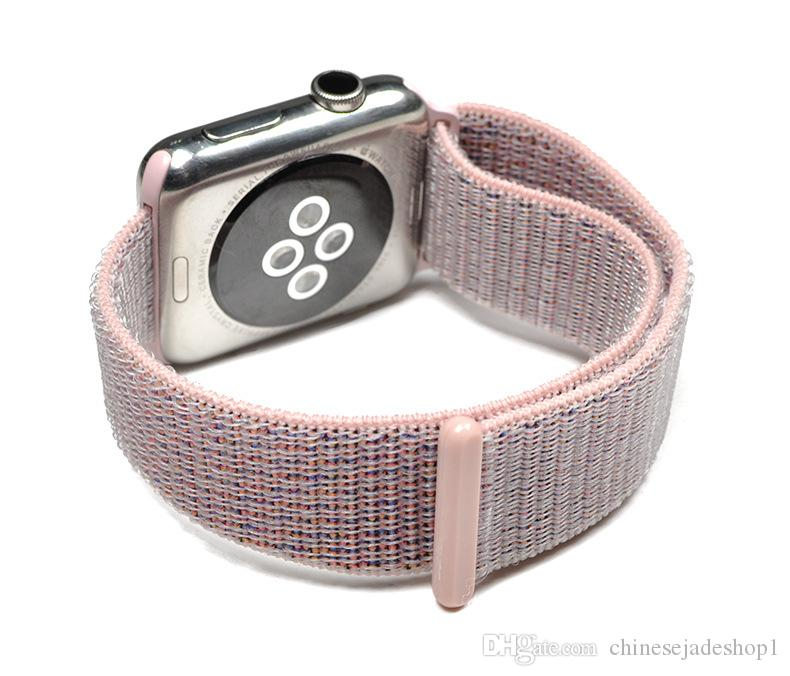 For apple watch Iwatch series 3 2 1 Woven Nylon Casual Watch Band sport loop Strap Wrist Bracelet Connector Mounted for 38mm 42mm