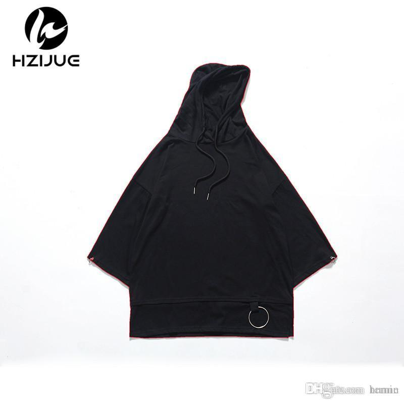 61d00ae82dbf HZIJUE 2018 High Street Half Sleeve Top Tees T Shirt Men T Shirt Simplicity Casual  Summer Hoodies Hip Hop Have Cap Hooded Black Men T Shirt T Shirt Men T ...