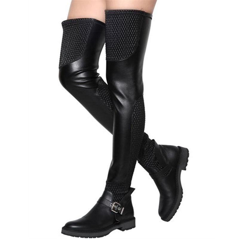 Sexy Round Toe Black Knitted Elastic Patchwork Flat Over Knee Boots Buckle Belt Long Flat Knight Boots Thigh для дам