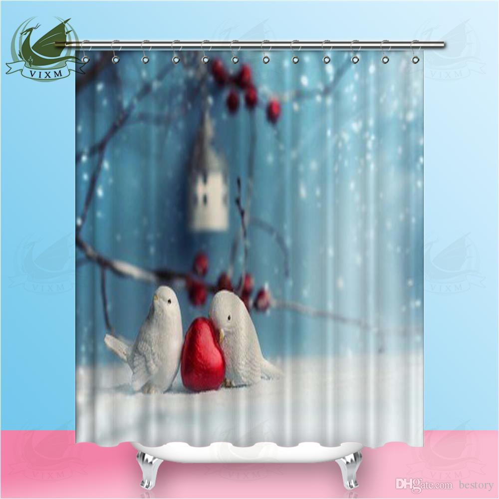 2019 Vixm Two Cute Ceramic Birds In Love At Winter Time Valentines Day Shower Curtains Polyester Fabric For Home Decor From Bestory