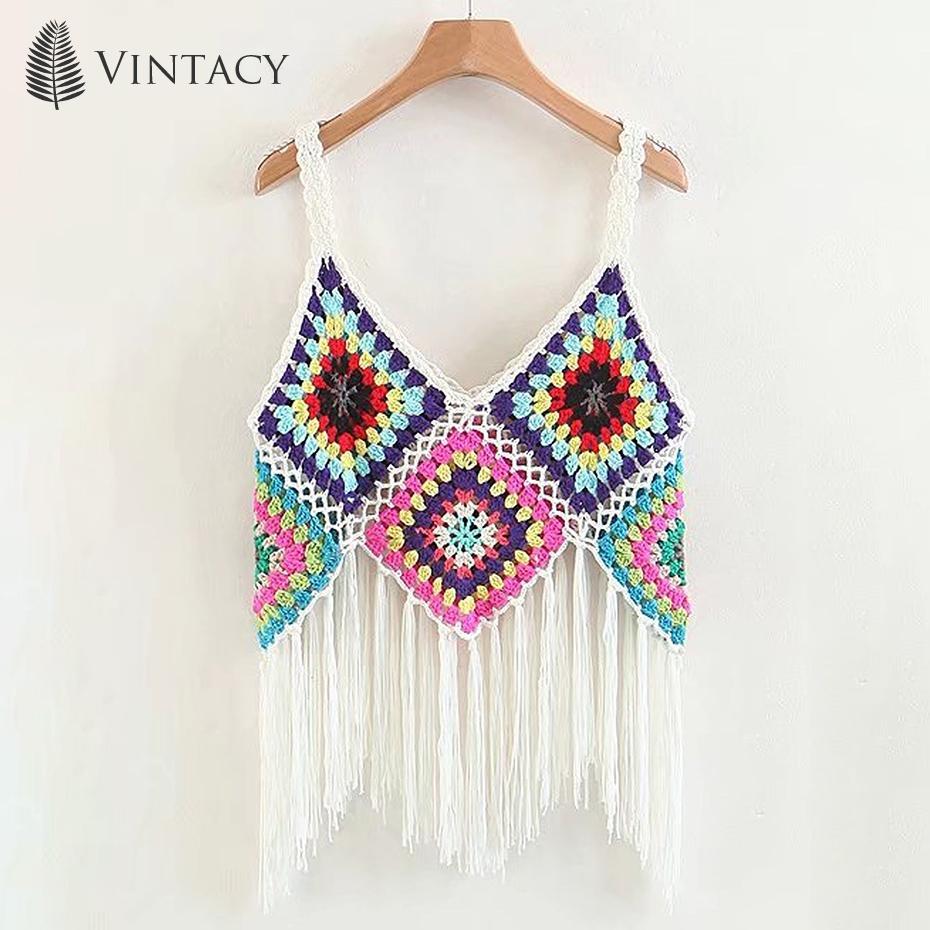 Compre Boho Tassel Crop Tops Mujeres Crochet Punto Gitano Chic ...