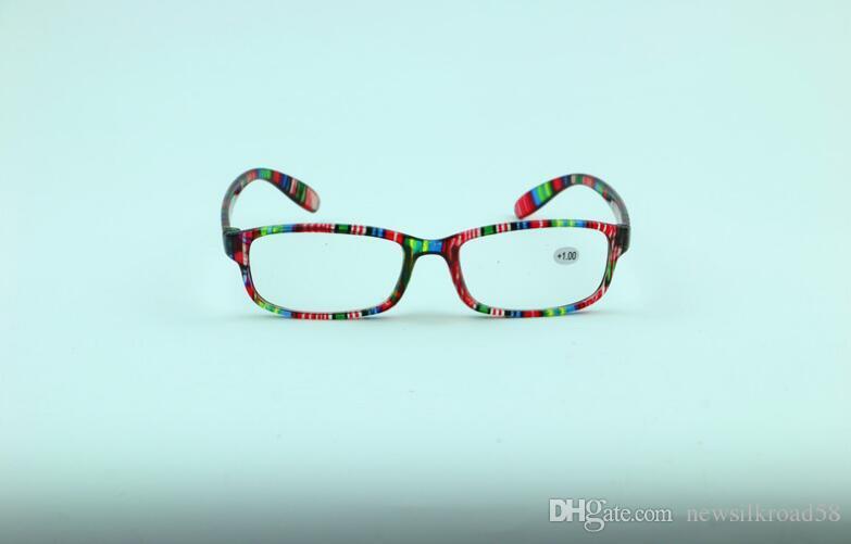 Toptan Kaliteli Olders Ucuz Rahat Okuma Gözlükleri Güç Lensler Ile Basit Renkli Plastik Çerçeve 10 adet / grup