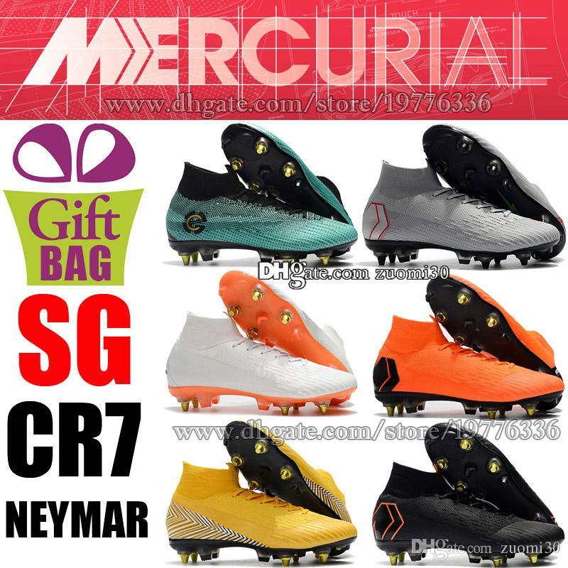 b54d6d6bd8be23 Acquista Novità CR7 SG Scarpe Da Calcio Cristiano Ronaldo Mercurial Superfly  VI CR7 SG Tacchetti Da Calcio Stivaletti Alti Da Calcio Neymar Calzini Da  ...