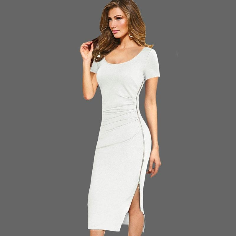 19c9c58ba8 Lcw New Design Womens Elegant Ruched Drape Sexy V Back Side Split Zipper  Lady Casual Work Office Party Bodycon Mid Calf Midi Dress Golden Party Dress  Ladies ...