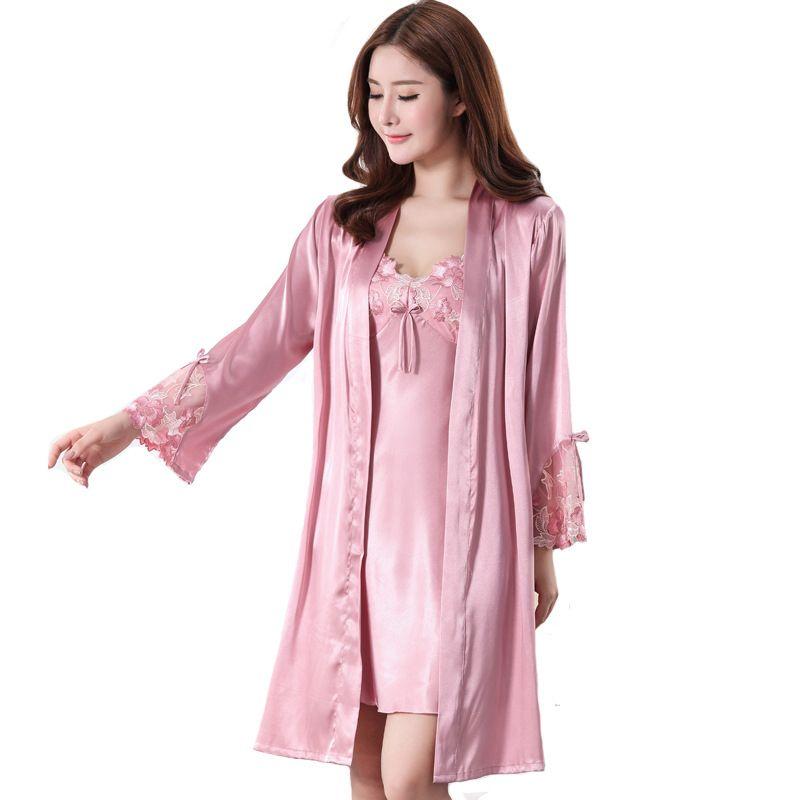 2019 Lady Sexy Wedding Bride Bridesmaid Robe Set Silky Satin Nighty+Robe  Sleep Suit Dressing Gown Floral Trim Women Kimono Bathrobe From Odelettu 7aec41b24