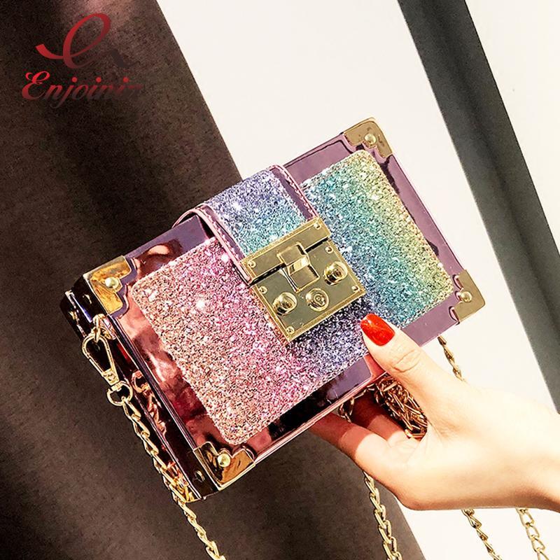 Luxury Fashion Gradient Color Sequins Box Style Female Party Clutch Bag  Shoulder Bag Chain Purse Crossbody Mini Messenger Bag Y18102403 Womens  Purses Women ... 98d4d7c0bc19
