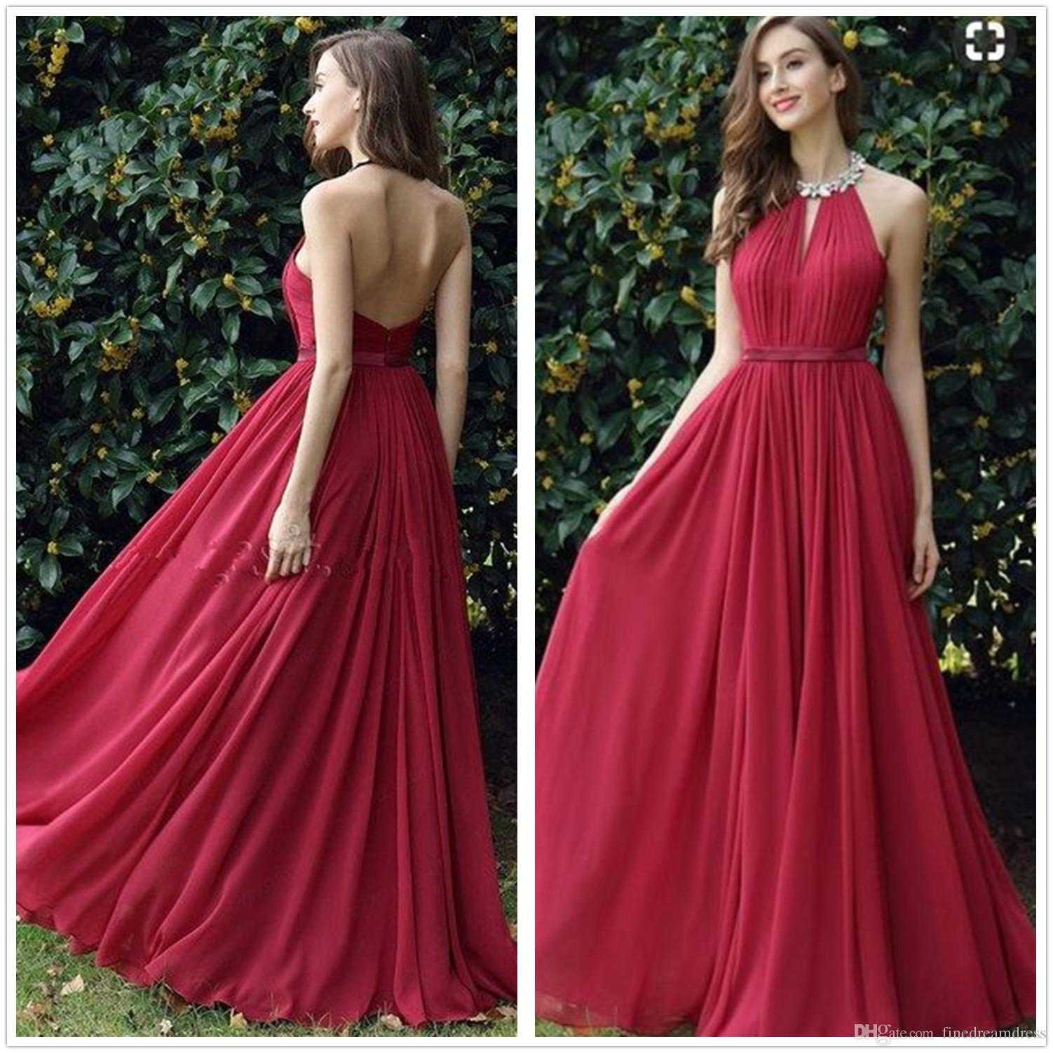 547a16a23aeea Red Hater Chiffon Long Prom Dresses 2018 Elegant Beaded Stones Top Ruched  Backless Floor Length Formal Party Evening Gowns Prom Dress Hire Uk Prom  Dresses ...