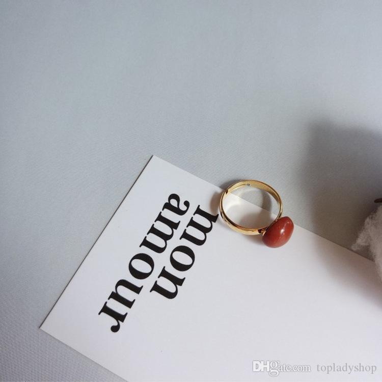 Anillo de Onyx rojo natural Vintage Court Ruby Forefinger Ring al por mayor envío gratuito