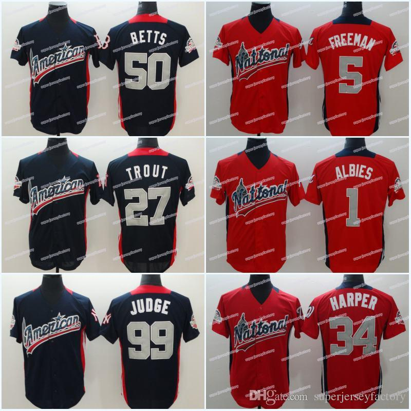 info for ff446 49b37 99 Aaron Judge Men's 2018 All Star 27 Jose Altuve 34 BryceHarper 1 Ozzie  Albies 5 Freddie Freeman 9 Javier Baez 11 Ramirez Baseball Jerseys