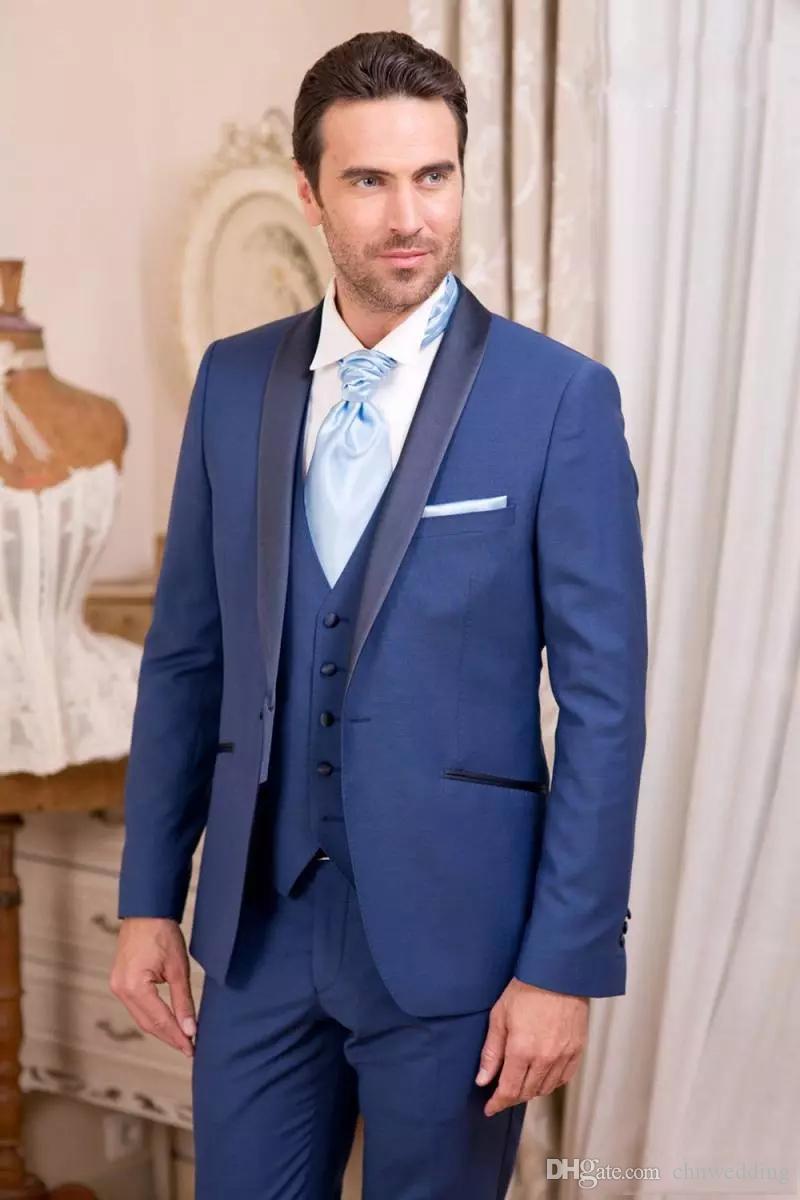 Custom Royal Blue Men Suits 2018 Wedding Wedding Slim Fit Groomsmen Tuxedos One Button Formal Prom Wear Jacket +Pants+Vest