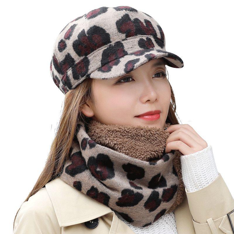 de4d13bc11fa6 2 in 1 Leopard Print Women Beret Cap Female Winter Warm Hats Cotton ...
