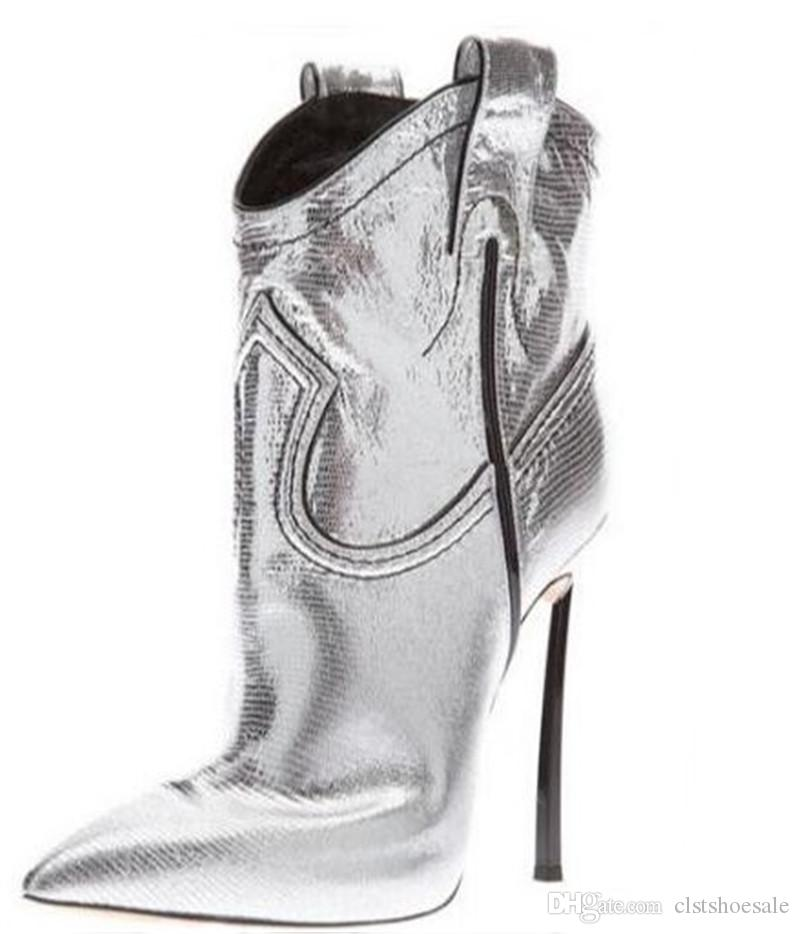 d68237f3b8b Hot Selling Women Pointed Toe Gold Silver Stiletto Short Slip On Boots  Strange Metal High Heel Ankle Booties Brand Shoes Shoe Boots Over Knee Boots  From ...