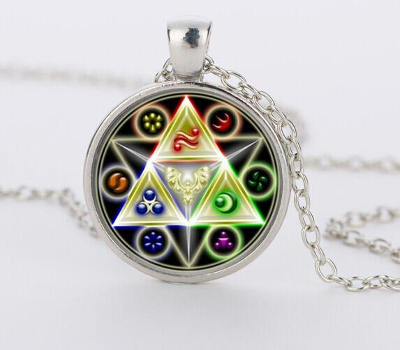 Caxybb brand Legend of Zelda Triforce Glass Cabochon Pendant & Necklace bijouterie gift Jewelry CN-464
