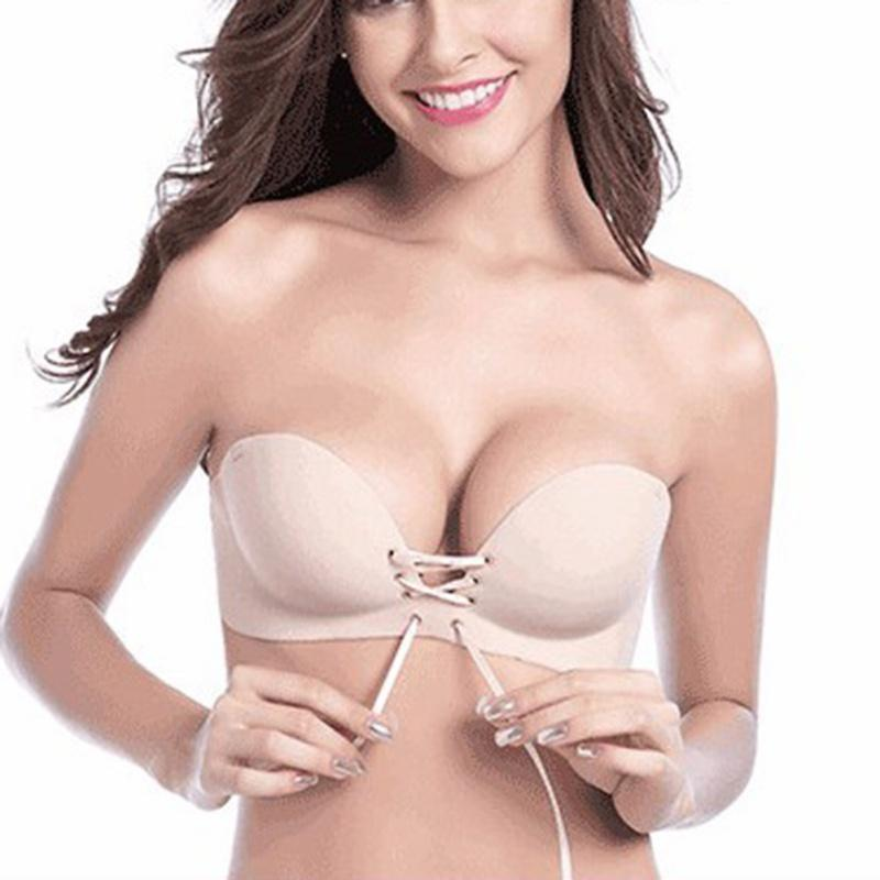 0d3694c41b 2019 Hot Sale Sexy Women Push Up Bra Invisible Strapless Silicone Lace Up  Bralette Seamless Bras Women Underwear 1 2 Cup From Watchlove