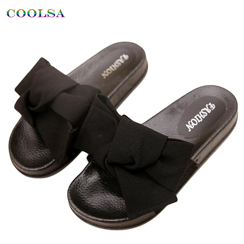 2c3d8a0fa52a COOLSA Summer Women s Slippers Bow Fabric Designer Flat Non Slip Cute  Slides Home Flip Flop Casual Sandal Female Tap Beach Shoes Wedge Boots  Boots Sale From ...