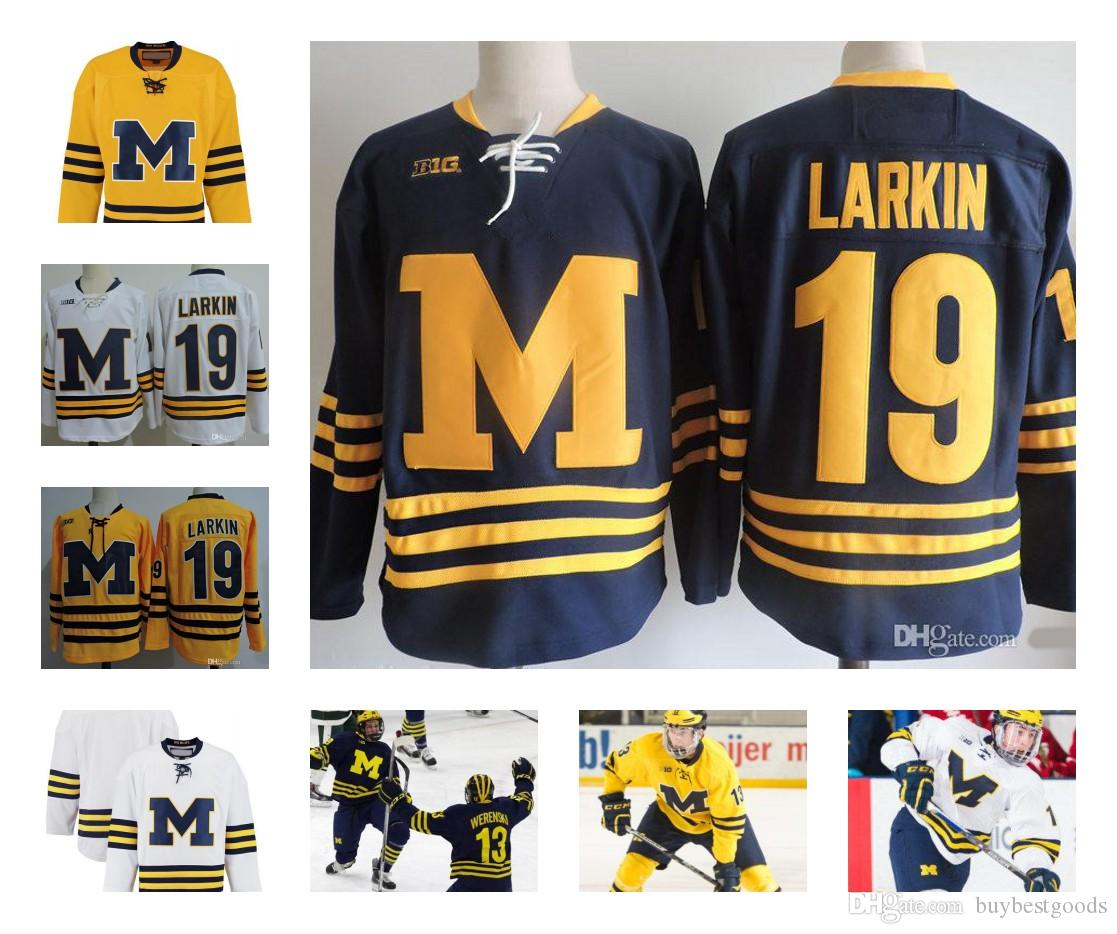 wholesale dealer 278d0 d7ab2 Custom NCAA Colleage Hockey Jerseys Michigan Wolverines #19 LARKIN #13 Zach  Werenski Michigan Wolverines Jersey Stitched S-3XL